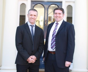Tim O'Neill (left) welcomes Chris Peck to the team
